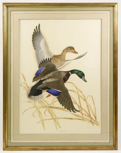 Two paintings depicting ducks in flight by Athos Menaboni (It./Am., 1895-1990), including this one shown, will be sold at auction Feb.  8 in Atlanta, Ga.