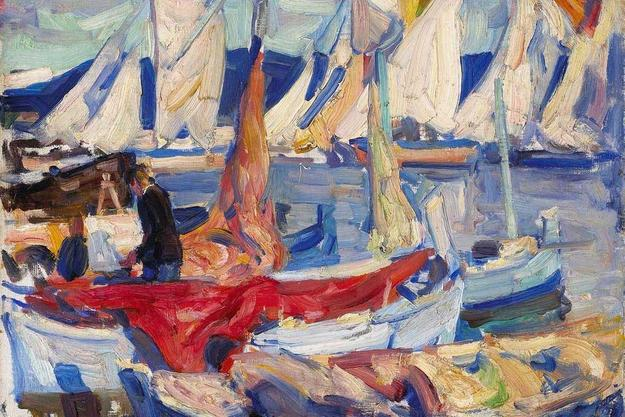 E.  Charlton Fortune (1885-1969) Drying sails I, 1926 , oil on canvas board, 12 1/2 x 16in.