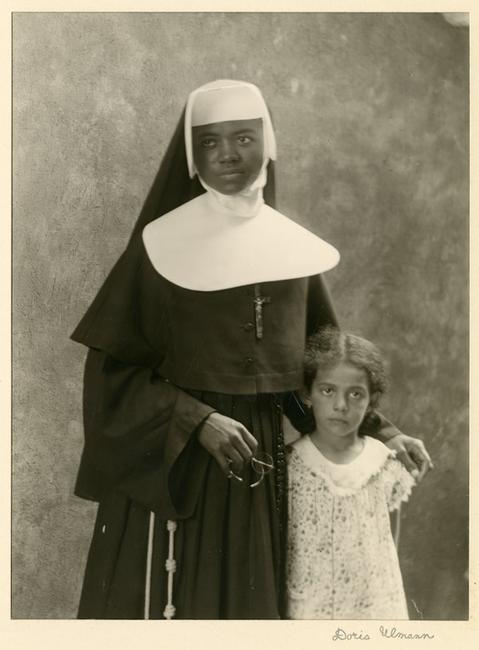 "Doris Ulmann (American, 1882–1934), ""Member of the Order of Sisters of the Holy Family and Child (Probably a Student), New Orleans, LA,"" December 1931.  Posthumous gelatin silver print, printed by Samuel Lifshey, ca.  1934–37, 8 x 6 inches.  Berea College and the Doris Ulmann Foundation, 3406."