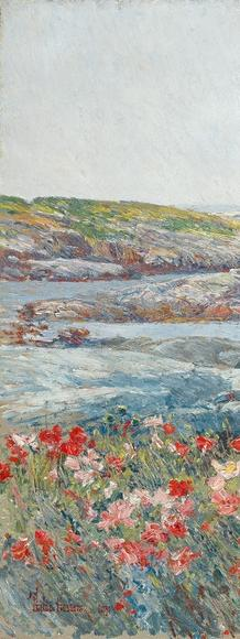 Childe Hassam, Poppies, Isles of Shoals, 1891.  Oil on canvas.  19 3/4 × 24 in.  (50.2 × 61 cm).  National Gallery of Art, Washington, Gift of Margaret and Raymond Horowitz, 1997.135.  Image courtesy National Gallery of Art
