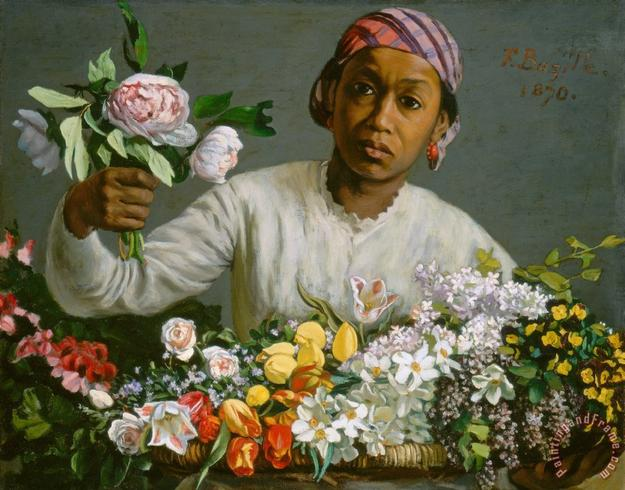 Frédéric Bazille, Young Woman with Peonies, 1870.  Oil on canvas, 23-5/8 × 29-9/16 in.  (60 × 75 cm).  National Gallery of Art, Washington, D.C., Collection of Mr.  and Mrs.  Paul Mellon.  Image courtesy National Gallery of Art, Washington, D.C.
