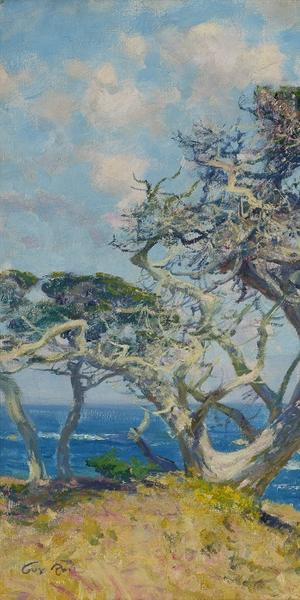 Guy Rose, Monterey Cypress, circa 1918.  Oil on canvas, 21 1/8 x 24 in.  Crocker Art Museum, Wendy Willrich Collection, 2017.52.2