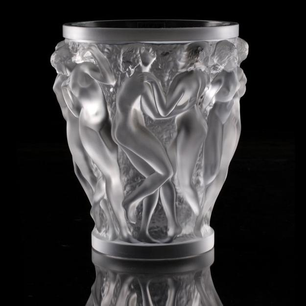 Lot 2 A Lalique Frosted Glass Bacchantes Vase, 20th Century, Signed Lalique France.  Dimensions: h: 9 1/2 x dia: 8 1/4 in..  Estimate $ 1,800-2,000