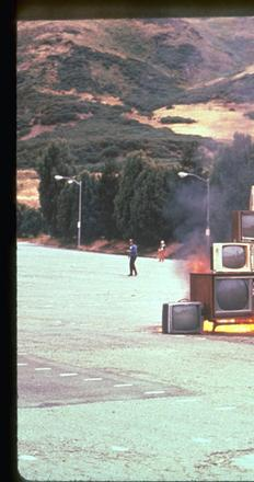 Ant Farm: Media Burn, July 4, 1975; performance, Cow Palace, San Francisco.  BAMPFA collection.  Photo: © John F.  Turner.
