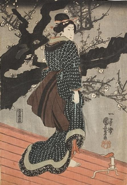 Kuniyoshi: Woman on Wooden Walkway (Engawa) in Front of Blossoming Plum Tree at Night, ca.  1848.
