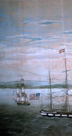 Detail of the panorama.  Purrington & Russell show the island steamer Massachusetts towing the ship Niger past Clark's Point lighthouse and into New Bedford harbor in 1847.