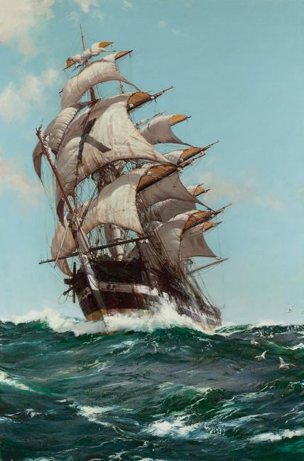 Montague Dawson (1895 - 1973), The Crest of a Wave, oil on canvas, 36 x 24 inches, signed.  Courtesy of Rehs Galleries.