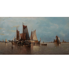 Gorgeous 19th century oil on canvas by Auguste Henri Musin (Belgian, 1852-1923), titled Harbor Scene with Sailboats, signed lower right (est.  $2,000-$4,000).