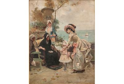 Emile Auguste Pinchart (1842-1924), Family Gathering by the Sea Shore, oil on canvas