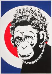Banksy's Monkey Queen, 2003, Screenprint in colours on wove paper (49 x 35cm)