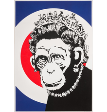 Monkey Queen by Banksy, 2003, Screenprint in colours on wove paper (49 x 35cm)