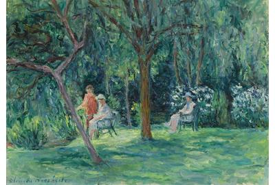 This exquisite garden scene places Blanche Hoschedé-Monet's mastery of the Impressionist aesthetic on full display.