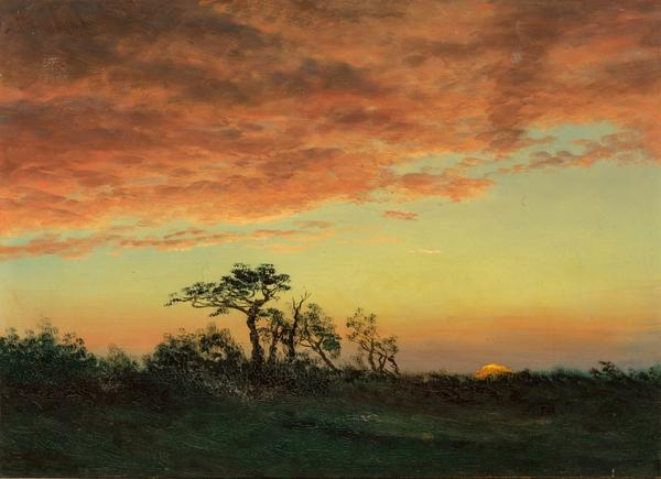Albert Bierstadt (1830-1902), Sunset over the Trees.  Est.  $30,000-50,000.  Lot 57.