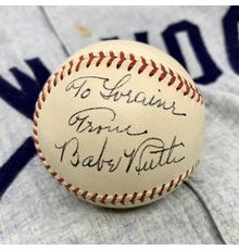 Baseball signed by Babe Ruth on Aug.  15, 1948, the night before he died.  Autograph PSA/DNA authenticated and graded a perfect 10.  Sold for $183,500, subsequently confirmed by PSA as the highest price ever paid for a single-signature baseball.  Grey Flannel Auctions image