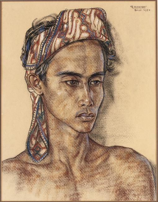 Rudolf Bonnet (Dutch, 1895-1978), Balinese Chieftain, Pastel, 1953