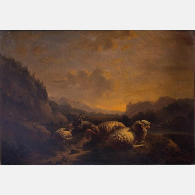 Original oil painting by Balthazar Paul Ommeganck (Flemish, 1755-1826), a landscape with sheep, signed and dated 1807, 12.25 inches by 17.75 inches (est.  $2,000-$4,000).