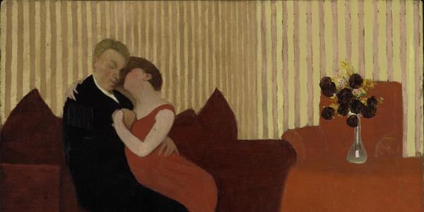 The Lie , 1898.  F é lix Vallotton (Swiss, 1865 – 1925).  Oil on artist's board; 24 x 33.3 cm.  The Baltimore Museum of Art, The Cone Collection, formed by Dr.  Claribel Cone and Miss Etta Cone of Baltimore, Maryland, BMA 19 5 0.298.  Photo: Mitro Hood