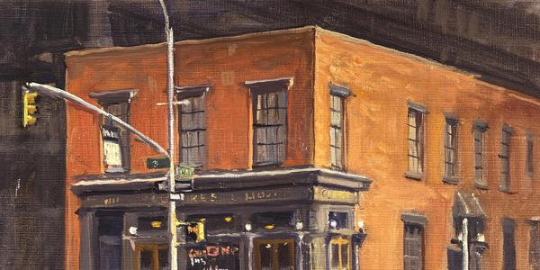 Julian Barrow, PJ.  Clarke's, New York, oil on canvas, 9 x 12 inches (detail).  Courtesy Mark Murray Fine Paintings
