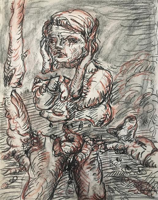 Georg Baselitz, Untitled, 1967.  Black and red chalk and graphite on paper.  Harvard Art Museums/Busch-Reisinger Museum, Gift of Dorette Hildebrand-Staab, 2020.100.  Artwork © Georg Baselitz.