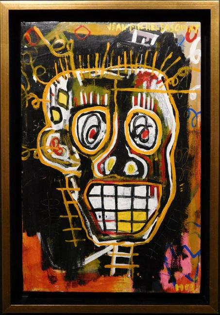 Untitled skeleton head painting attributed to Jean-Michel Basquiat (Am., 1960-1988), unframed and artist signed, 12 inches by 22 inches ($37,500).