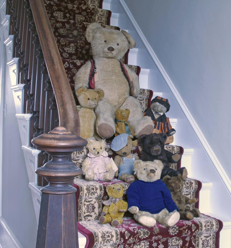 The massive collection of toy bears will include these shown, and the sale will also feature many other items.