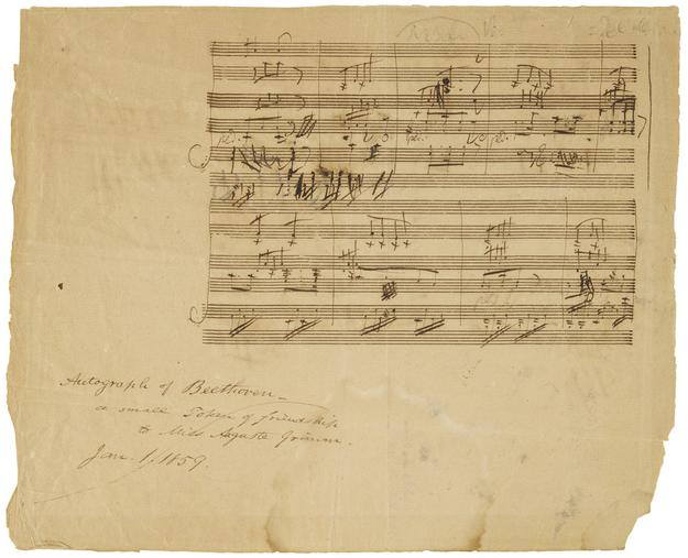 "Ludwig Van Beethoven (1770-1827) Autograph Manuscript, sketch-leaf part of the score of his Scottish Song, ""Sunset"" Op.  108 no 2.  Estimate: US$80,000-120,000"