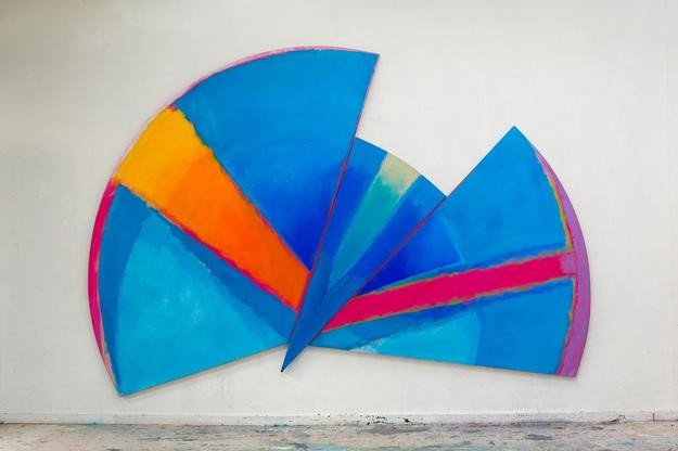 Trevor Bell, Blue Radial, 1985.  Acrylic on canvas.  96 x 140 inches