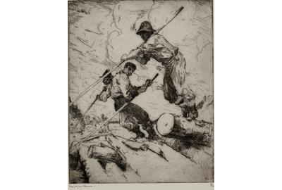 Frank W.  Benson (1862-1951), The Log Jam, 1915, etching, 9 ⅞ by 7 ⅞ inches, Estimate: $6,000-$9,000