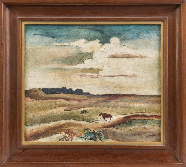 This landscape painting with a cow was done by the renowned American artist Thomas Hart Benton (1889-1975).  It is expected to sell for $10,000-$15,000.