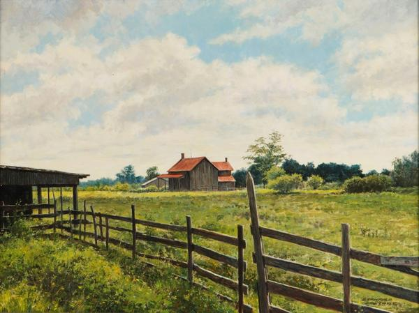 Oil on panel painting by Bernard Wynne (American, 1920-2009), titled Landscape with a barn, 19 ½ inches by 26 inches.