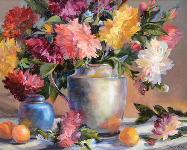 """Dahlias with Apricots"" by Betty Carr, oil on linen canvas"