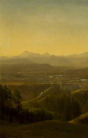 Albert Bierstadt (1830-1902), Wind River Country Wyoming, ca 1860, oil on canvas, 28.25 x 39.50
