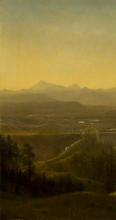 Albert Bierstadt (1830-1902), Wind River Country Wyoming, ca 1860, oil on canvas, 28.25 x 39 inches.