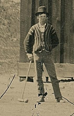 Billy the Kid playing croquet after a wedding in New Mexico.  Tintype estimate $5 million.