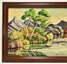Fauvist landscape painting by Swedish-born American artist Birger Sandzen (1871-1954), depicting Rocky Mountain National Park in Colorado, artist signed (est.  $20,000-$30,000).