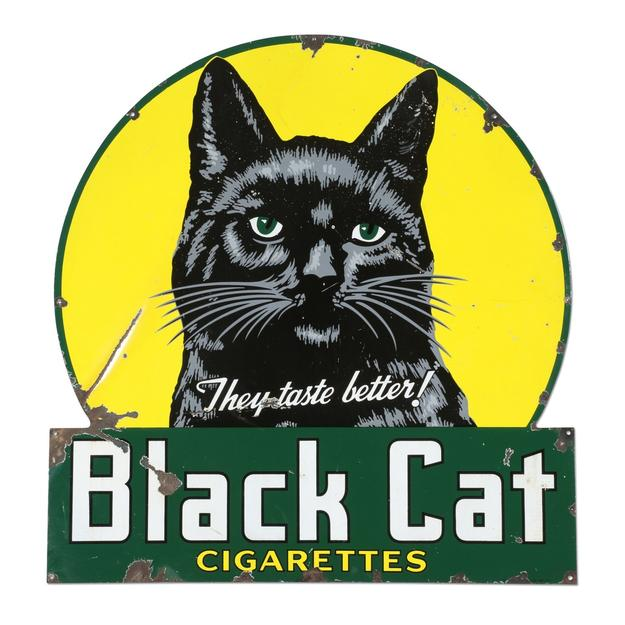 "Canadian 1945 Black Cat Cigarettes porcelain sign, 50 inches by 48 inches, with high detailed graphics and marked ""P&M Orilla 45"" lower right edge (est.  CA$3,000-$5,000)."