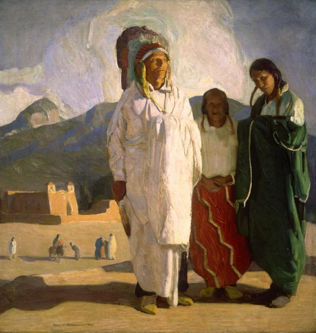Ernest L.  Blumenschein, The Chief Speaks, 1917, oil on canvas; Private Collection, photograph courtesy Gerald Peters Gallery, Santa Fe, N.M.
