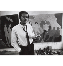 Bob Thompson in his studio on Rivington Street, New York, 1964; Detail from page 35 of the Bob Thompson scrapbook, 1960-1975 in the Bob Thompson papers, 1949-2005, Archives of American Art, Smithsonian Institution
