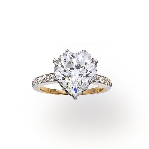 An antique diamond ring, circa 1900, set with a heart-shaped diamond, weighing 5.05 carats.  Est.  $50,000-70,000