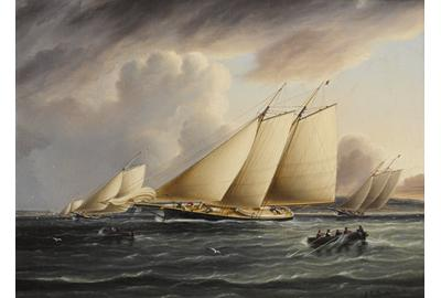 James Edward Buttersworth (British/American, 1817-1894), circa 1870.  Schooners from the New York Yacht Club racing in the Narrows.  12 x 16 in.  Est.  $70,000-100,000