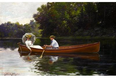 Abbott Fuller Graves (American, 1859-1936) Rowing to Picnic Rock  oil on canvas 32 x 46in Painted circa 1900 Sold $197,000