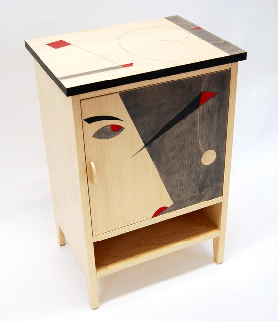 "Michael and Alexandra Miller, ""Circleine,"" cabinet of maple faced plywood and colored veneer marquetry, Everyman Works, LLC, Brooklyn"