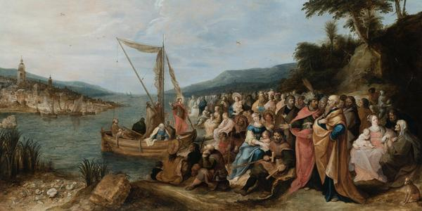 Frans Francken II (1581-Antwerp-1642) The preaching of Jesus on the shores of the Sea of Galilee.  Oil on canvas.  Signed and dated 1631.