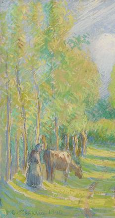 "Entitled ""Vachère dans une Clairière,"" this painting showcases the legendary Camille Pissarro's mastery of color and light."