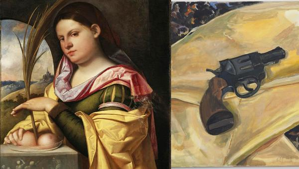 Cariani (Giovanni Busi), Portrait of a Young Woman as Saint Agatha and Margaret Harrison, Beautiful Ugly Violence