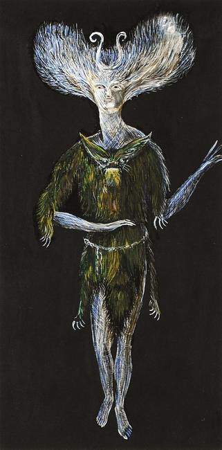 Leonora Carrington, Untitled, c.  late 1960s.  Gouache on paper, 13 3/8 x 6 5/8 in.