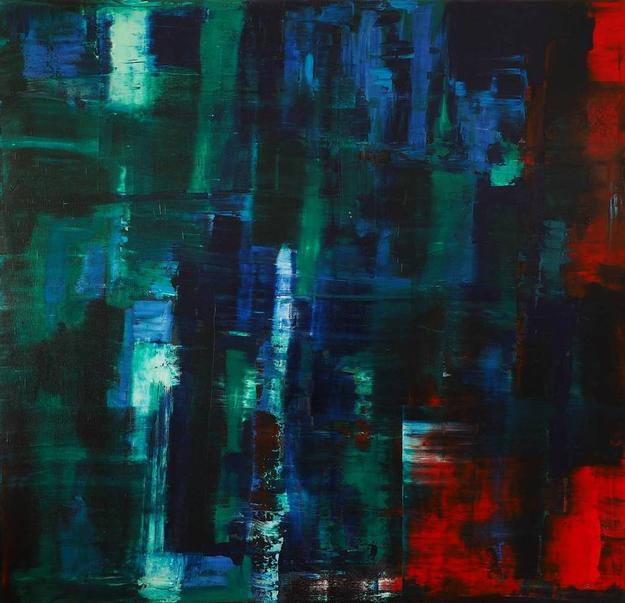 Catherine Timotei, Reflection Green, Blue on Red,Oil on Canvas, 79'' x 75''