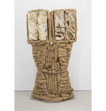 "Barbara Chase-Riboud (b.1939), ""Matisse's Back in Twins,"" 1967/1994, polished bronze and silk on painted steel base, 75 1/4"" x 39"" x 18"" / 191.1 x 99.1 x 45.7 cm"