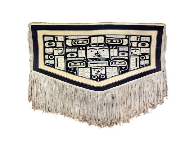 "Chilkat blanket, multi-figured weaving with long fringe, c.  1870 5'5""w x 4""l not incl.  fringe.  Private Collection"