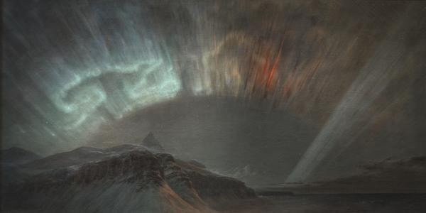 Part of the Alexander von Humboldt exhibition, Frederic Edwin Church, Aurora Borealis, 1865, oil on canvas, 56 x 83 1/2 in., Smithsonian American Art Museum, Gift of Eleanor Blodgett, 1911.4.1.  Photo by Gene Young.